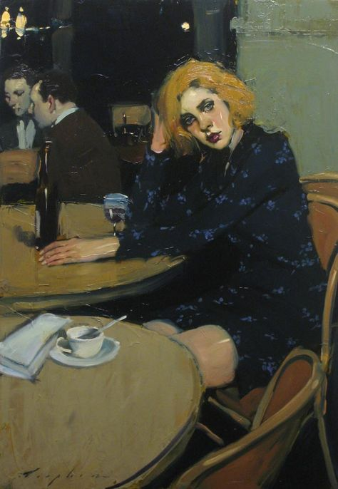 """Painting by Malcolm Liepke: """"Waiting for a Friend"""" Woman Painting, Figure Painting, Painting & Drawing, Malcolm Liepke, Painting Inspiration, Art Inspo, Figurative Kunst, Wow Art, Fine Art"""