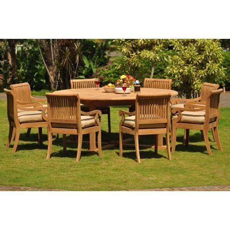 Teak Dining Set 8 Seater 9 Pc 72 Round Table And 8 Giva Arm Chairs Outdoor Patio Grade A Teak Wood Wholesaleteak Wmdsgv31 Walmart Com Patio Furniture Chairs Patio Furniture For Sale Patio Furniture
