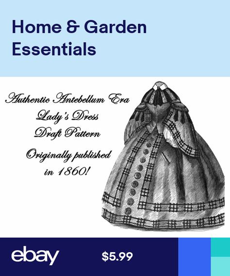 Dress Pattern Antebellum Civil War Girls Draft 1860