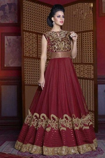 Stylish Net Gown Dress In Maroon Color Dmv15156 Maroongowns