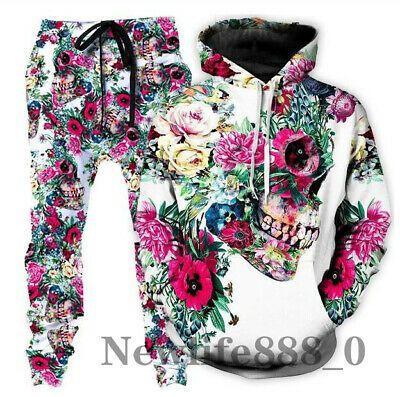 New Flower Skull 3D Print Men Women Sweatshirt Hoodies Jogging pants Sport Suits