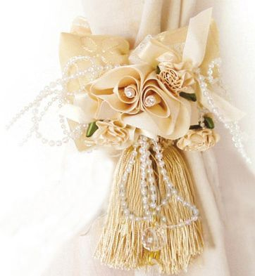 Pair Ribbon Embroidered Flowers Bow Curtain Tiebacks   eBay
