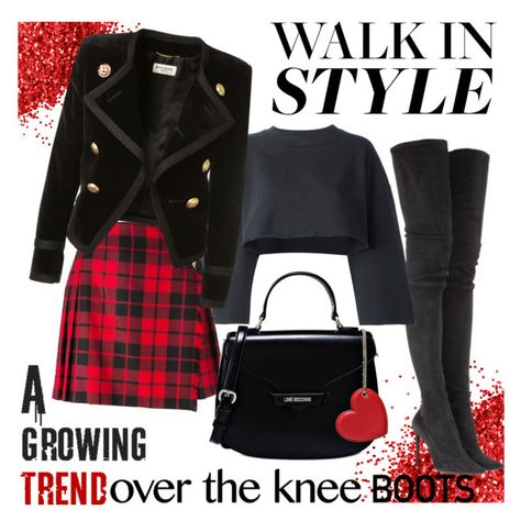 Walk In Style by hemmo1drauhl on Polyvore featuring polyvore fashion style adidas Originals Yves Saint Laurent Burberry Tamara Mellon Love Moschino clothing black red Boots overkneeboots walkinstyle