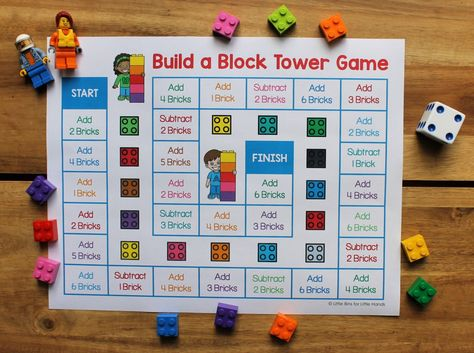 Grab this FREE printable LEGO tower game you can print and play right away. Perfect for math activities as well as a LEGO challenge game for an indoor day! Lego Board Game, Math Board Games, Lego Boards, Board Games For Kids, Free Board Games, Free Games, Lego Activities, Lego Games, Lego Toys