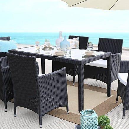 Black Wicker Patio Furniture Black Rattan Furniture Beachfront Decor Wicker Patio Furniture Sets Wicker Dining Set Outdoor Dining Furniture
