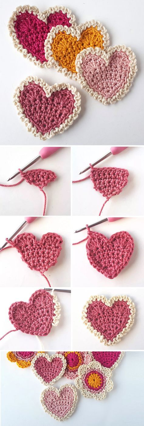Crochet Heart – Simple Tutorial – Design Peak 50 Classic Yet Simple DIY Crochet Ideas For You Mattress Stitch Join Tutorial Crochet Backpack – Bunny Ears Bobble Christmas Tree Free Crochet Patterns + Video Crochet Simple, Love Crochet, Crochet Gifts, Crochet Flowers, Crochet Hearts, Crochet Bags, Crochet Animals, Loom Knitting, Knitting Patterns