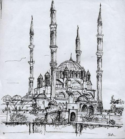 Selimiye Cami Edirne Burcu Ayozcan Atalar Mimari Cizim