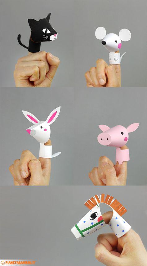 Marionette di carta da dito da stampare e costruire dedicate agli animali da fattoria