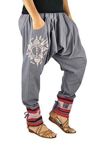 e0f3eb721 virblatt Pantalones cagados en Estilo Harem de Entrepierna Baja para ...