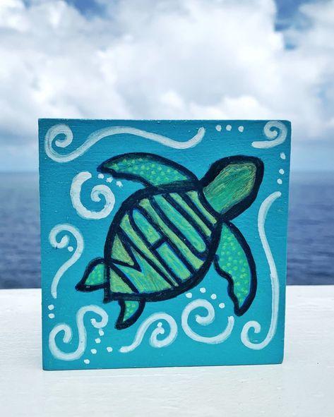 painting ideas on canvas boho Maui Honu Original Painting - Maui wood canvas Sea Turtle Surf Art Cute Easy Paintings, Small Canvas Paintings, Easy Canvas Art, Small Canvas Art, Easy Canvas Painting, Mini Canvas Art, Turtle Painting, Wood Canvas, Canvas Ideas Kids