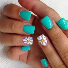 Teal Spring Time Nails with White Flower Petals , Nail Art