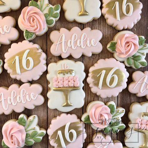 Happy Birthday Cookie, Sweet 16 Birthday Cake, Birthday Cookies, Birthday Cake Toppers, 16th Birthday, Birthday Ideas, Sweet Sixteen Cakes, Sweet Sixteen Parties, Sweet Sixteen Invitations
