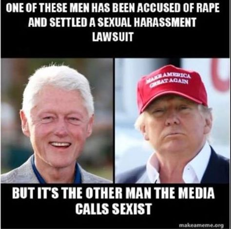 Despite what the corrupt media tells you, the actual perv is on the left. And he paid 1 victim $850,000 at the end of her law suit.