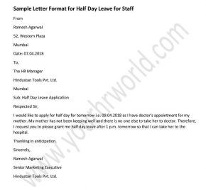 Announcement Letter Format For Half Day Leave For Staffs Letter