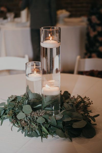 Eucalyptus Wreath With Floating Candles For Wedding Centerpiece Floating Candle Centerpieces Candle Centerpieces Cheap Wedding Table Centerpieces