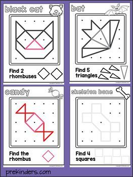Halloween Geoboards Shape Activity For Pre K Math Shapes Activities Halloween Activities Halloween