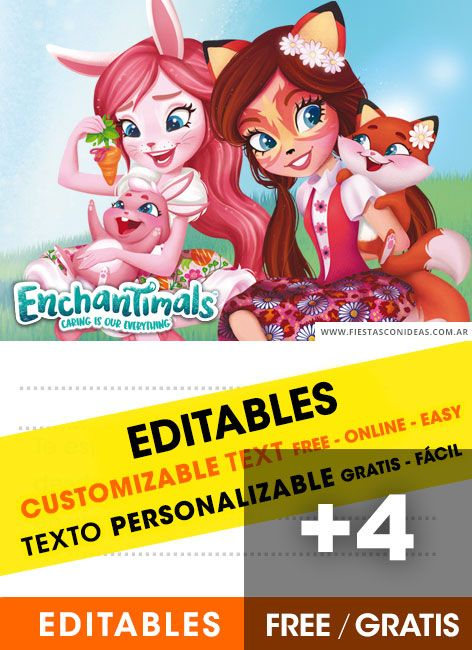 4 Invitaciones De Enchantimals Gratis Free Para Editar