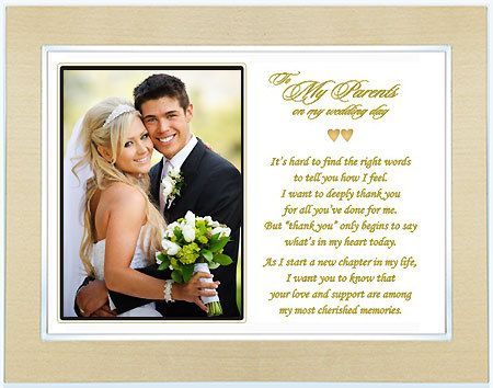 Wedding Gift For Parents Of The Bride Or Groom Poem Frame