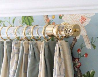 Custom Lucite Drapery Rod Polished Brass Satin Brass Or Nickel 1 5 Dia Lucite Curtain Rod Custom Curtain Rod Luxholdups In 2020 Custom Curtain Rods Curtain Rods Drapery Rods