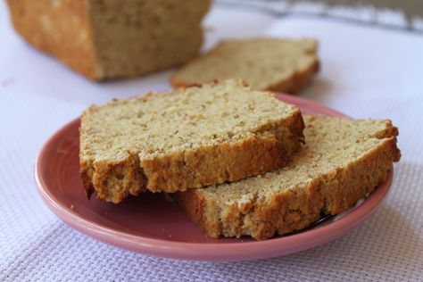 Grain-Free Sandwich Bread - coconut flour, flaxseed meal, ground almonds, arrowroot powder, salt, baking powder, applesauce, coconut oil, eggs, honey (optional), sesame seeds (optional)