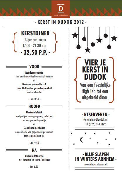 3 Gangen Kerstdiner.Kerst Menu Van Dudok Arnhem Menu Specials Menu