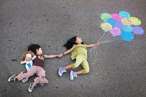 PHOTOGRAPHY LESSON for 4/5  Side walk chalk photo by Jan Von Holleben.   A great collaborative art idea. Have groups work together to plan, pose, and photograph these chalk & people images.