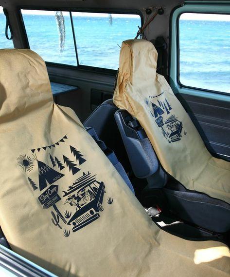 Jack Marie ジャックアンドマリー の Jack Marie Honeyコラボ 防水シートカバー ベージュ インテリアアクセサリー です このアイテム着用のコーディネートをチェックすることもできます シートカバー ベージュ サーフィン 車