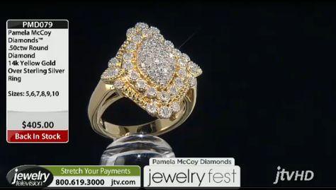 PMD079 Pamela Mccoy Diamonds(Tm) .50ctw Round 14k Yellow Gold Over Stelring Silver Ring ERV: $405.00 JTV Price: $199.77