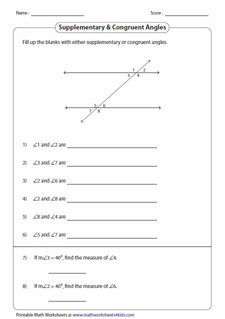 Supplementary And Congruent Angles Worksheets Coordinate