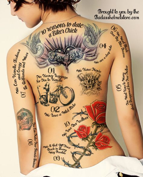 10 reasons to date a biker chick, in ink.