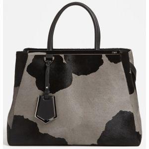 d083ffc619d2 Fendi Grey And Black 2Jours Large Cow Print Calf Hair Shopper