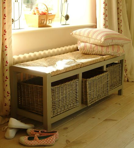 Stupendous Hallway Storage Bench With 3 Square Wicker Baskets For Shoe Camellatalisay Diy Chair Ideas Camellatalisaycom