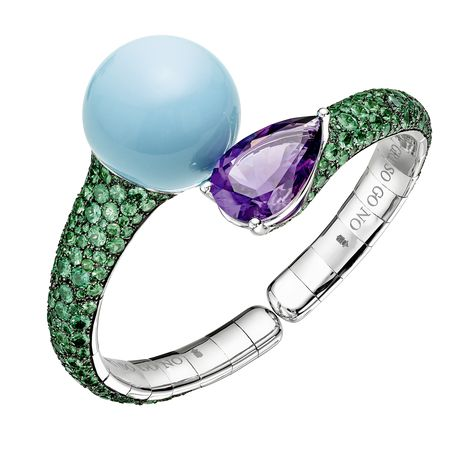 De GRISOGONO - Boule collection  -42112-46-   White Gold – Turquoises – Amethysts – Tsavorites.