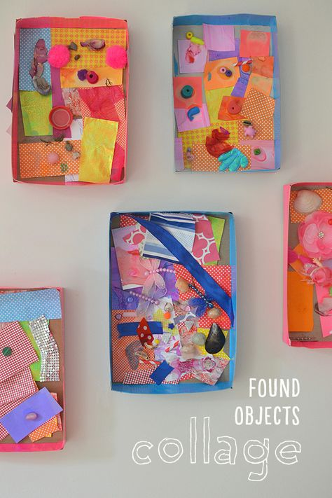 Children collect small things from their homes to make a collage.