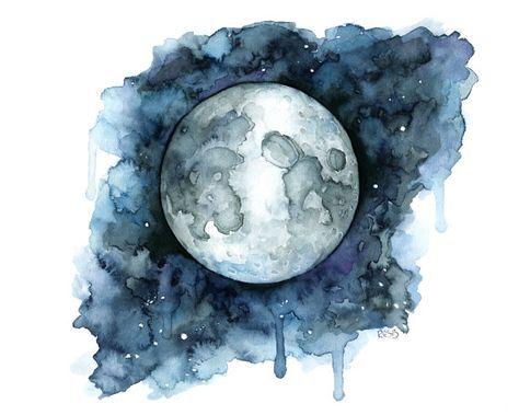 Aquarell Mond Malerei Mond Druck Mondphase Vollmond Nacht
