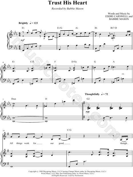 Babbie Mason Trust His Heart Sheet Music In Eb Major Transposable Download Print Sheet Music Music Printable Sheet Music