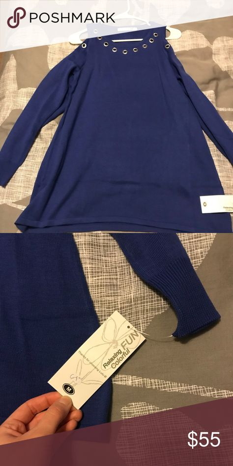 Blue Cold-Shoulder Tunic Shoulder cutout tunic with silver embellishments. Tops Tunics