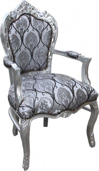 Casa Padrino Barock Esszimmer Mit Armlehnen Silber Schwarz Muster Silber Antik Stil Mobel Barock Esszimmerstuhle Mit Armlehne Und Stil