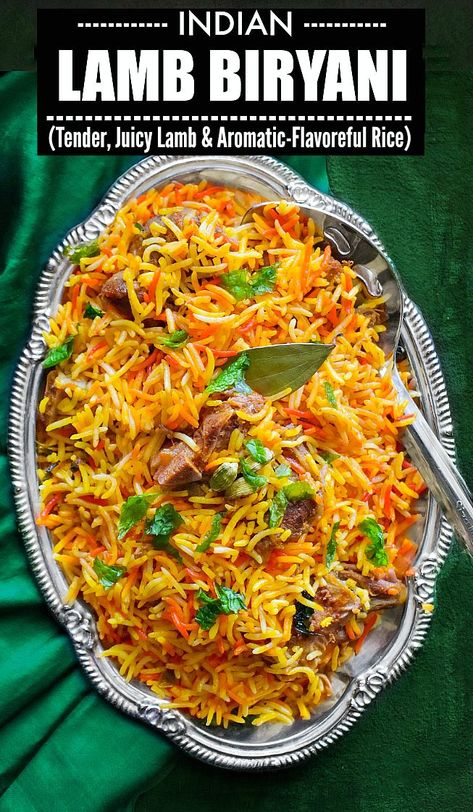 Indian Lamb Biryani - How to Make Mughlai Lamb Biryani Lamb Recipes Indian, Lamb Biryani Recipes, Asian Recipes, Chicken Biryani Recipe Indian, Side Dish Recipes, Easy Dinner Recipes, Easy Meals, Brunch Recipes, Breakfast Recipes