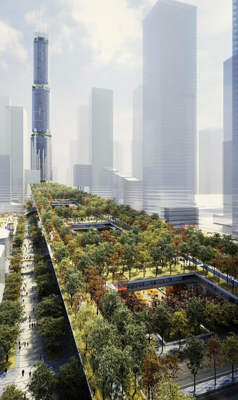 """Gallery of Rogers Stirk Harbour + Partners' Sky Garden will .- Gallery of Rogers Stirk Harbour + Partners& Sky Garden will be an """"Urban Living Room"""" for Shenzhen – 1 - China Architecture, Amazing Architecture, Landscape Architecture, Architecture Design, Sustainable Architecture, Masterplan Architecture, Fantasy Landscape, Urban Landscape, Landscape Design"""