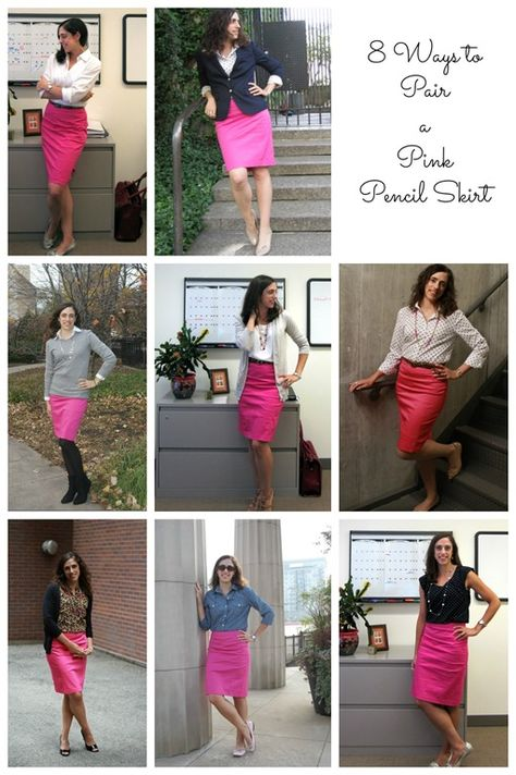 One Pink Pencil Skirt, 9 Different Outfits - Loop Looks