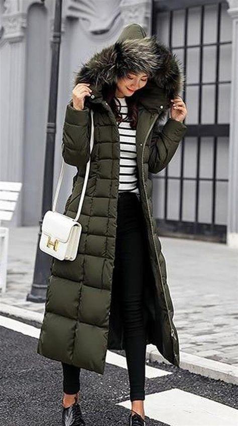 Women's Jacket Fur Collar Hooded Down Long Waarm Thicken