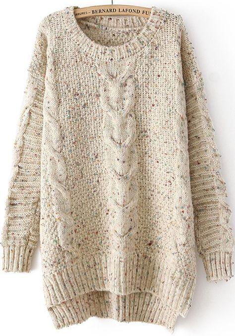 Beige Plain Irregular Long Sleeve Sweater