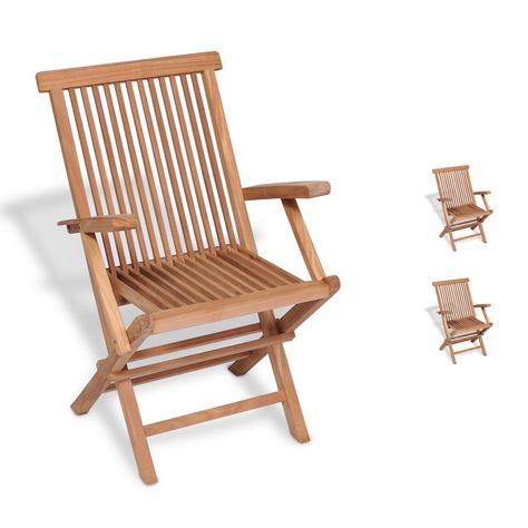 Sedie Legno Da Esterno.Set Due Sedie In Legno Di Teak Pieghevoli Con Braccioli Per Uso
