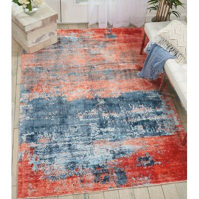 Kathy Ireland Home Mcgill Modern Abstract Blue Brick Red Area Rug