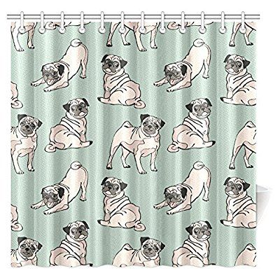 Interestprint Dog Lover Decor Shower Curtain Cute Funny Vintage