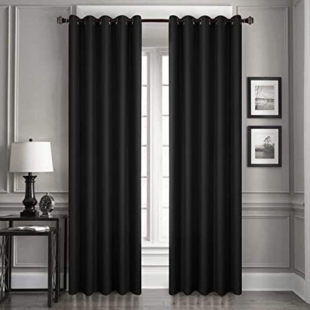 Loyolady Black Blackout Curtains 96 Inch Length 2 Panels Grommet Top Insulated Curtains 100 Blacko In 2021 Insulated Curtains Curtains Bedroom Black Blackout Curtains 96 black out curtains
