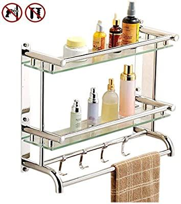 Lishens No Drilling Bathroom Shelf Tempered Glass With Rail Wall Mounted Stainless Steel Packing With Scre Glass Bathroom Shelves Bathroom Shelves Towel Rack