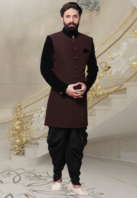Product+Highlights +++++++++++++Readymade+Khadi+Sherwani+in+Brown+This+Plain+attire+is+Enhanced+with+Buttons+Available+with+a+Black+Art+Silk+Dhoti+Pant+Do+note:+Footwear+shown+in+the+image+is+for+presentation+purposes+only.+Half+to+one+inch+may+vary+in+measurement.+(Slight+variation+in+actual+color+vs.+image+is+possible)+++++++++++ ++++++++++++++Know+our+Shipping+and+Return+policyAny+Questions?+Just+Ask