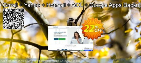 Special Bundle Offer - Gmail + Yahoo + Hotmail + AOL + Google Apps Backup + Office 365 Backup Coupon 22% discount code
